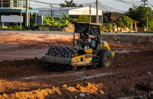 Padfoot roller compacting soil